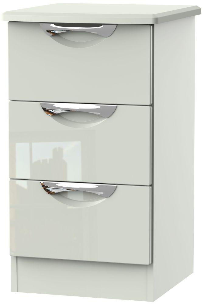 Camden High Gloss Kaschmir 3 Drawer Bedside Cabinet