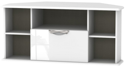 Camden High Gloss White 1 Drawer Corner TV Unit