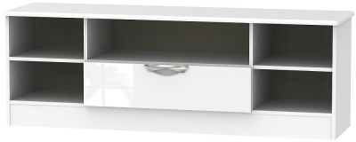 Camden High Gloss White 1 Drawer Wide Open TV Unit