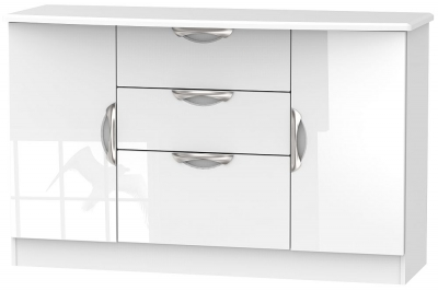 Camden High Gloss White 2 Door 3 Drawer Sideboard