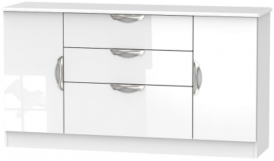 Camden High Gloss White 2 Door 3 Drawer Wide Sideboard