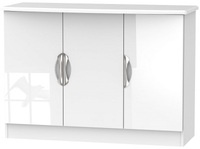 Camden High Gloss White 3 Door Narrow Sideboard