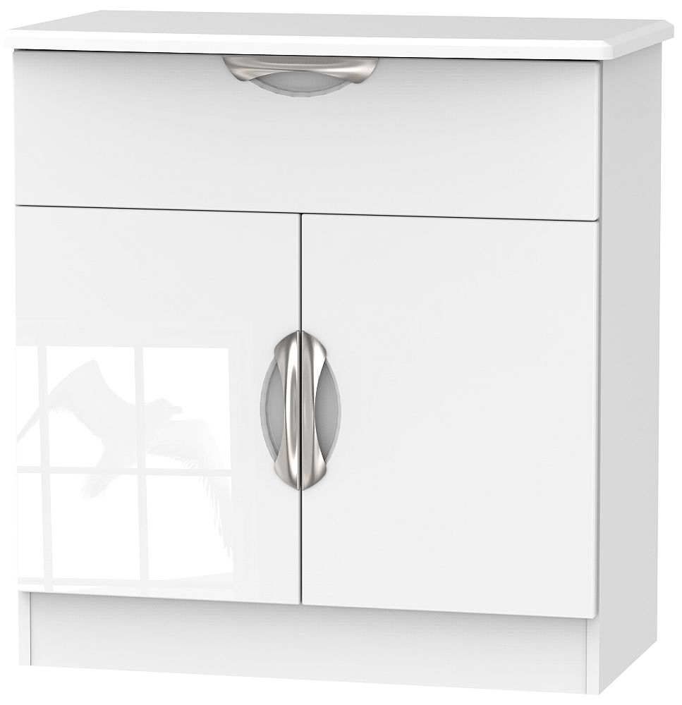 Camden High Gloss White 2 Door 1 Drawer Narrow Sideboard