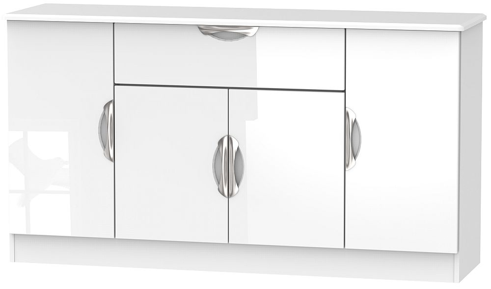 Camden High Gloss White 4 Door 1 Drawer Wide Sideboard