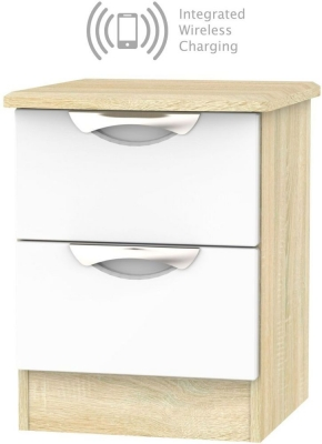 Camden 2 Drawer Bedside Cabinet with Integrated Wireless Charging - High Gloss White and Bardolino