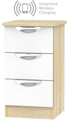 Camden 3 Drawer Bedside Cabinet with Integrated Wireless Charging - High Gloss White and Bardolino
