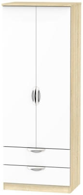 Camden 2 Door 2 Drawer Tall Wardrobe - High Gloss White and Bardolino