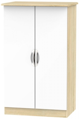Camden 2 Door Midi Wardrobe - High Gloss White and Bardolino