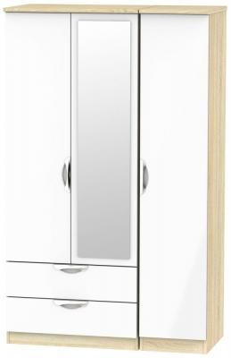 Camden 3 Door 2 Left Drawer Mirror Wardrobe - High Gloss White and Bardolino