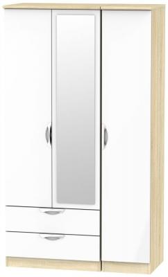 Camden 3 Door 2 Left Drawer Tall Combi Wardrobe - High Gloss White and Bardolino