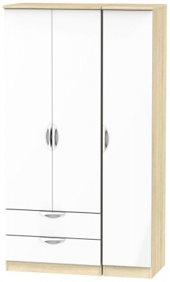 Camden 3 Door 2 Left Drawer Tall Wardrobe - High Gloss White and Bardolino