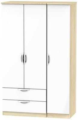 Camden 3 Door 2 Left Drawer Wardrobe - High Gloss White and Bardolino