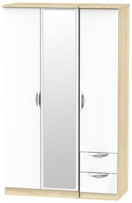 Camden 3 Door 2 Right Drawer Mirror Wardrobe - High Gloss White and Bardolino