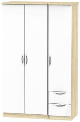 Camden 3 Door 2 Right Drawer Wardrobe - High Gloss White and Bardolino