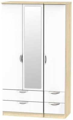Camden 3 Door 4 Drawer Tall Combi Wardrobe - High Gloss White and Bardolino