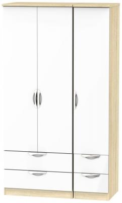 Camden 3 Door 4 Drawer Tall Wardrobe - High Gloss White and Bardolino