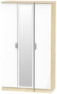 Camden 3 Door Tall Mirror Wardrobe - High Gloss White and Bardolino