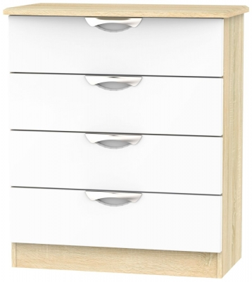 Camden 4 Drawer Chest - High Gloss White and Bardolino