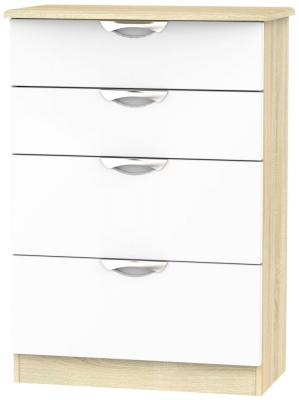 Camden 4 Drawer Deep Chest - High Gloss White and Bardolino