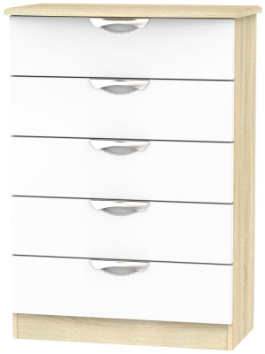 Camden 5 Drawer Chest - High Gloss White and Bardolino