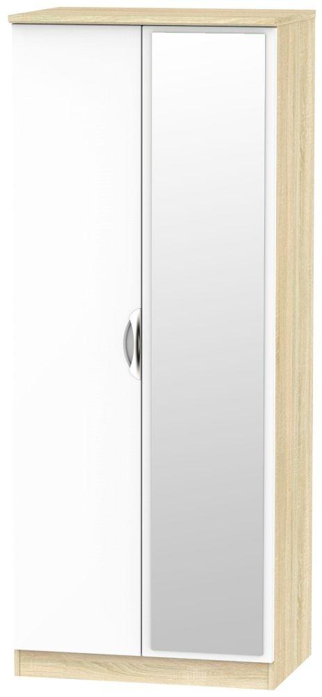 Camden 2 Door Mirror Wardrobe - High Gloss White and Bardolino