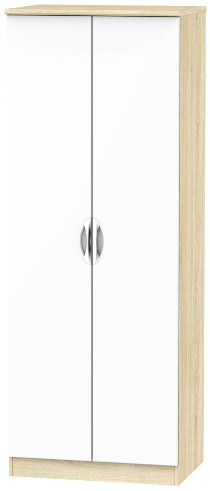 Camden 2 Door Tall Hanging Wardrobe - High Gloss White and Bardolino