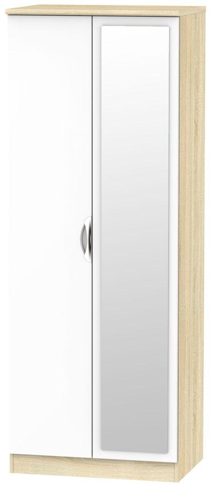 Camden 2 Door Tall Mirror Wardrobe - High Gloss White and Bardolino
