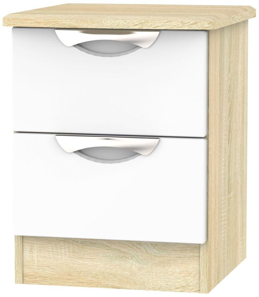 Camden 2 Drawer Bedside Cabinet - High Gloss White and Bardolino