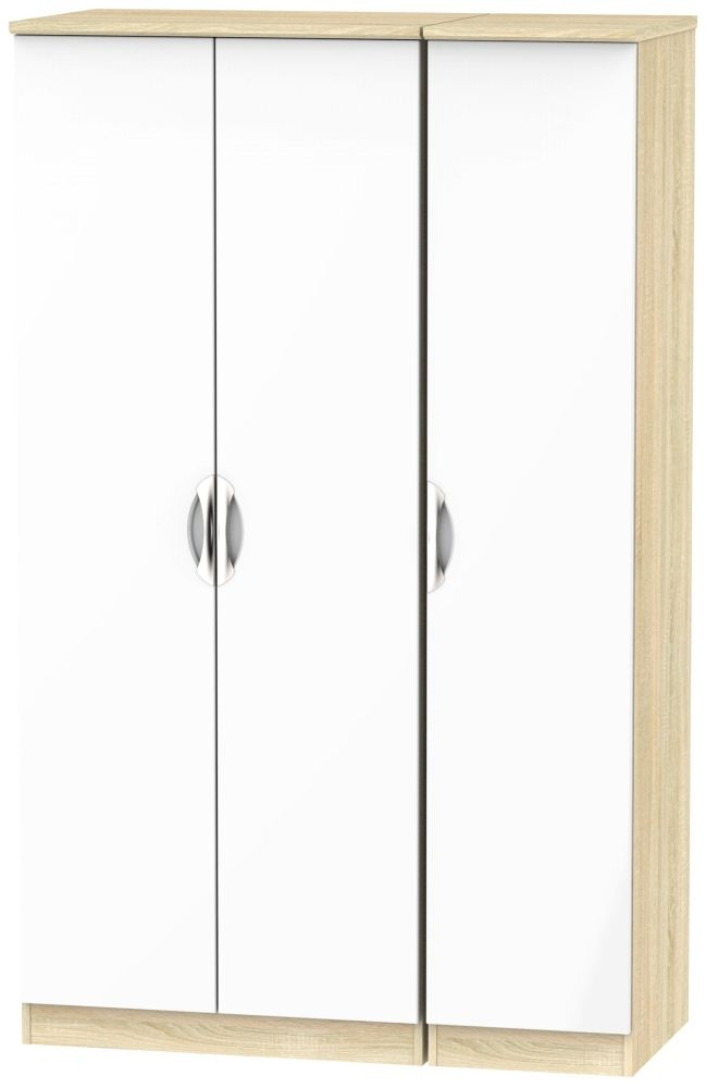 Camden 3 Door Wardrobe - High Gloss White and Bardolino