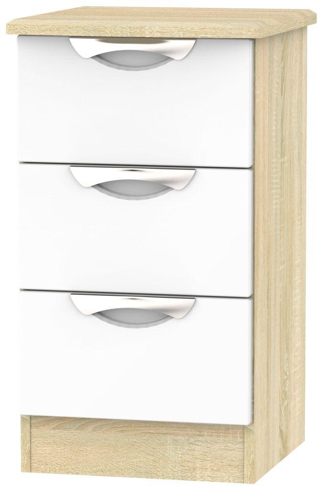 Camden 3 Drawer Bedside Cabinet - High Gloss White and Bardolino