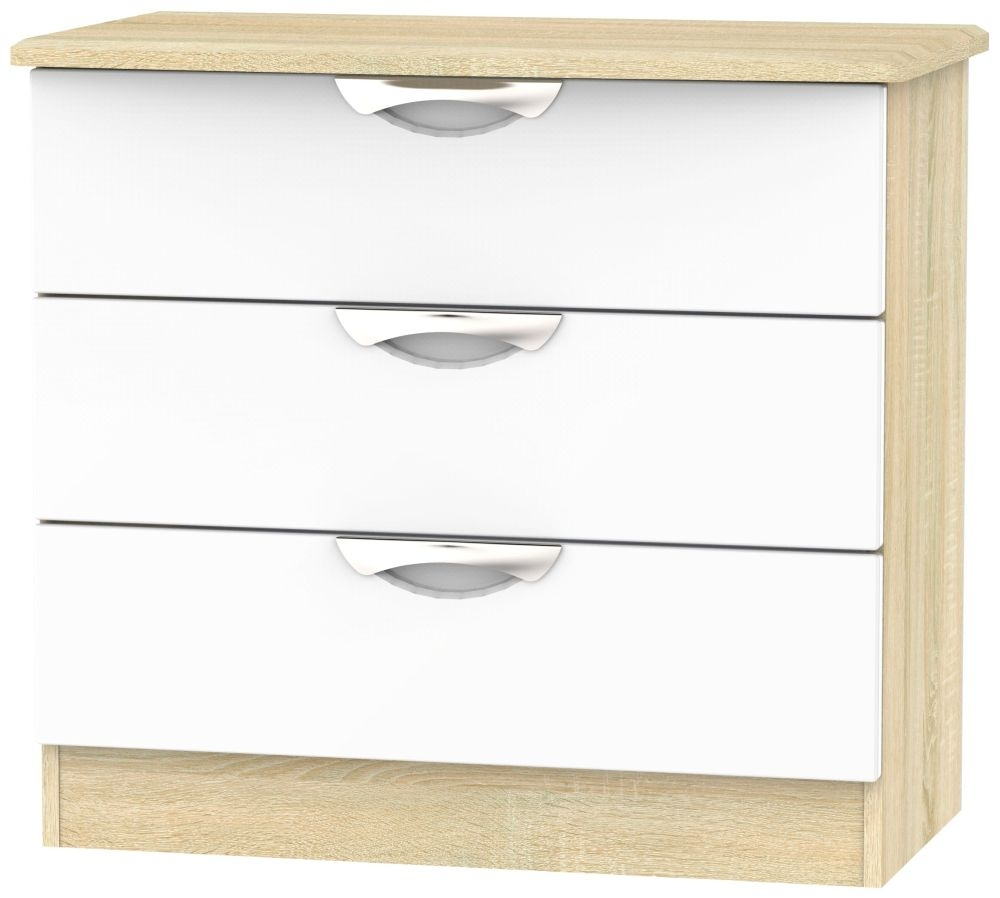 Camden 3 Drawer Chest - High Gloss White and Bardolino
