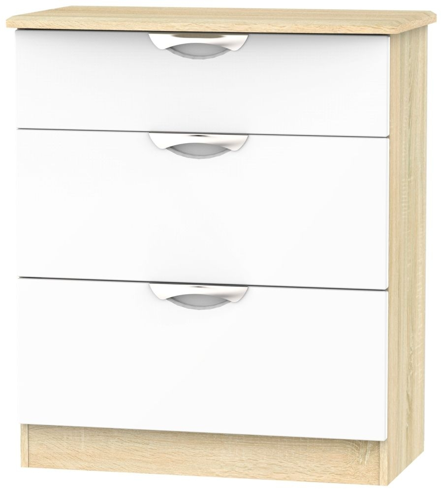 Camden 3 Drawer Deep Chest - High Gloss White and Bardolino