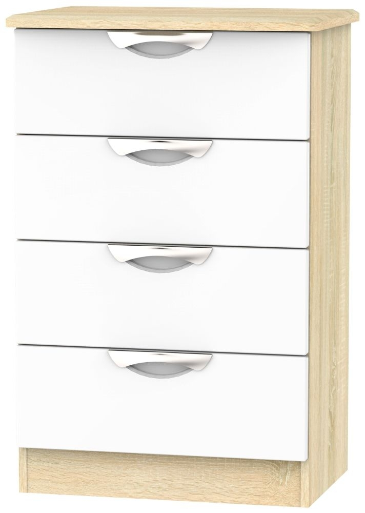 Camden 4 Drawer Midi Chest - High Gloss White and Bardolino