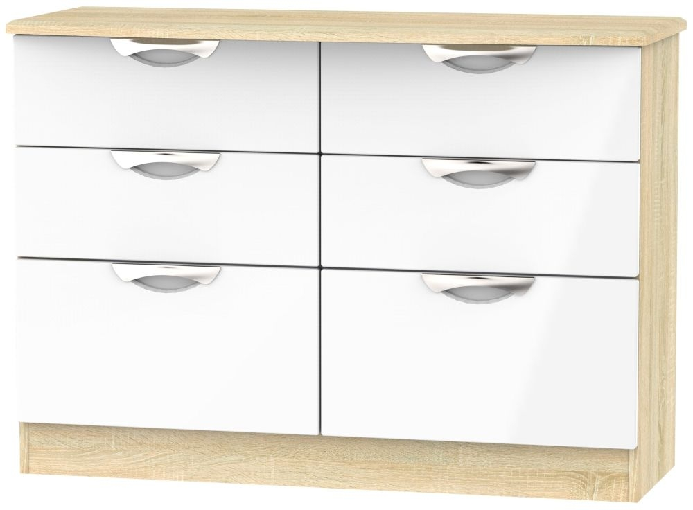 Camden 6 Drawer Midi Chest - High Gloss White and Bardolino