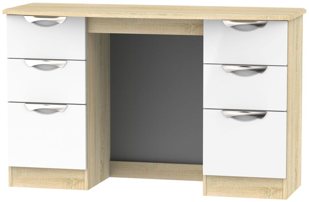 Camden Double Pedestal Dressing Table - High Gloss White and Bardolino