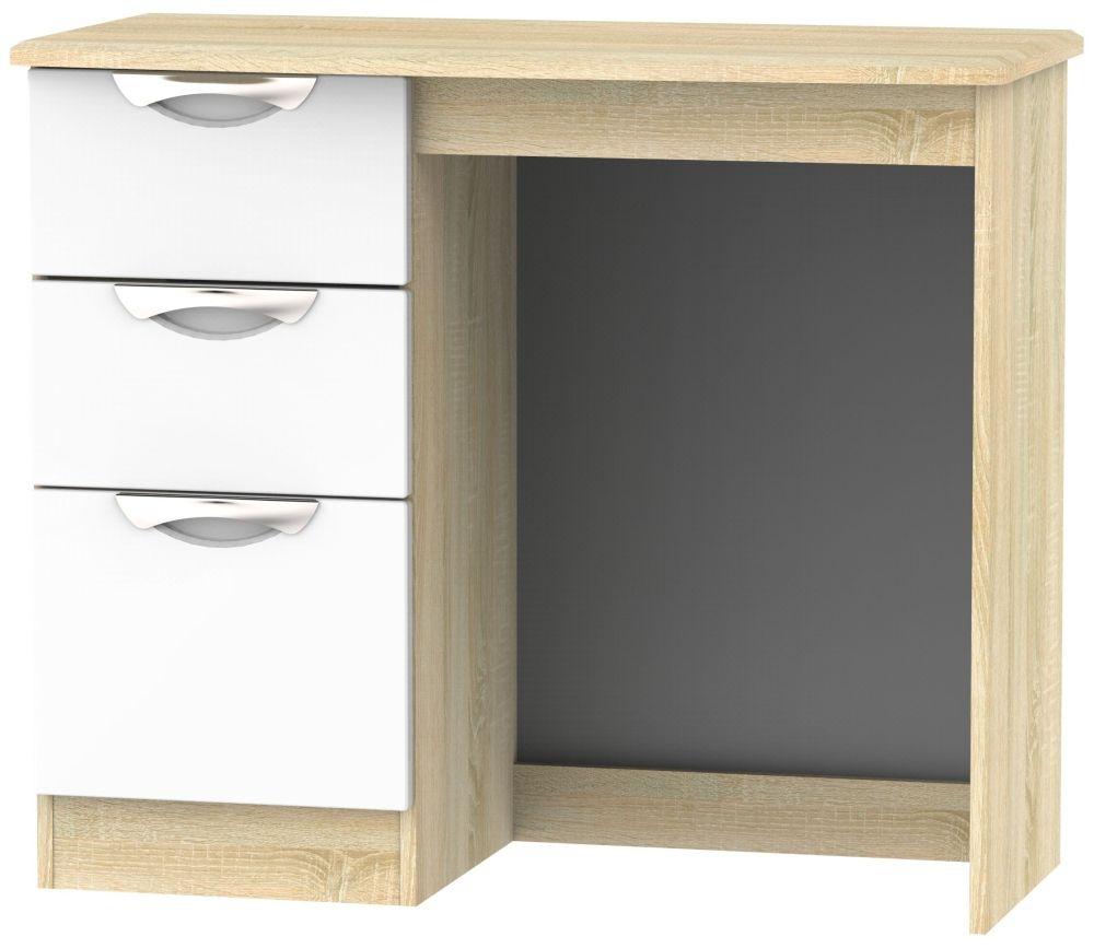 Camden Single Pedestal Dressing Table - High Gloss White and Bardolino