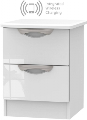 Camden High Gloss White 2 Drawer Bedside Cabinet with Integrated Wireless Charging