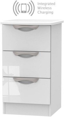 Camden High Gloss White 3 Drawer Bedside Cabinet with Integrated Wireless Charging