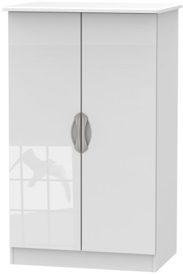 Camden High Gloss White 2 Door Plain Midi Wardrobe