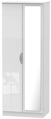 Camden High Gloss White 2 Door Tall Mirror Double Wardrobe