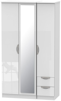Camden High Gloss White 3 Door 2 Right Drawer Tall Mirror Wardrobe