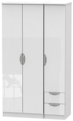 Camden High Gloss White 3 Door 2 Right Drawer Tall Plain Wardrobe