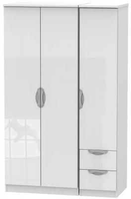 Camden High Gloss White 3 Door 2 Drawer Triple Wardrobe
