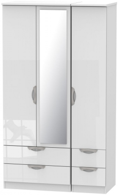 Camden High Gloss White 3 Door 4 Drawer Tall Mirror Triple Wardrobe