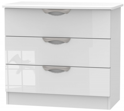 Camden High Gloss White 3 Drawer Chest