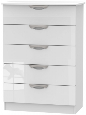 Camden High Gloss White 5 Drawer Chest