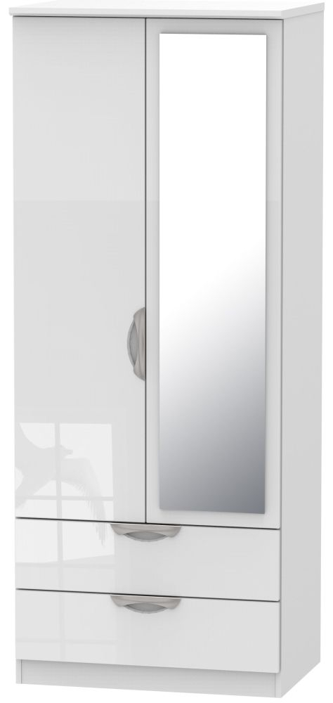 Camden High Gloss White 2 Door Mirror Combi Wardrobe