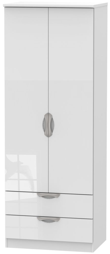 Camden High Gloss White 2 Door 2 Drawer Tall Wardrobe