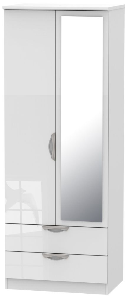 Camden High Gloss White 2 Door 2 Drawer Tall Mirror Wardrobe