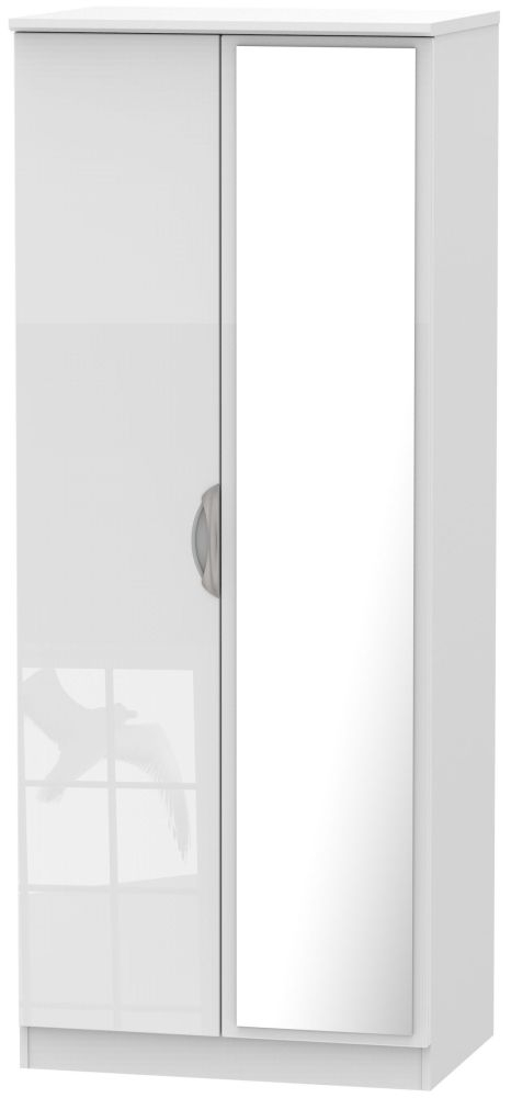 Camden High Gloss White 2 Door Mirror Wardrobe